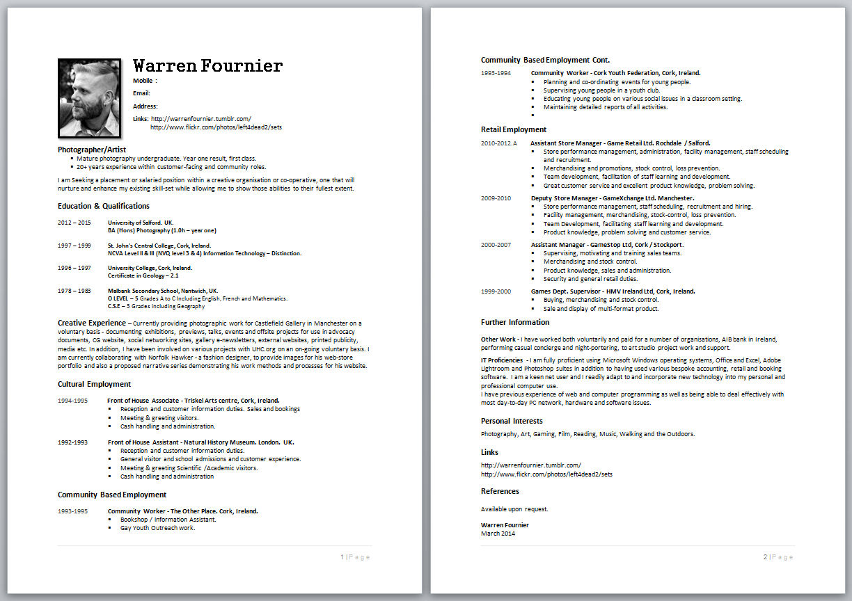 how to create a curriculum vitae in english